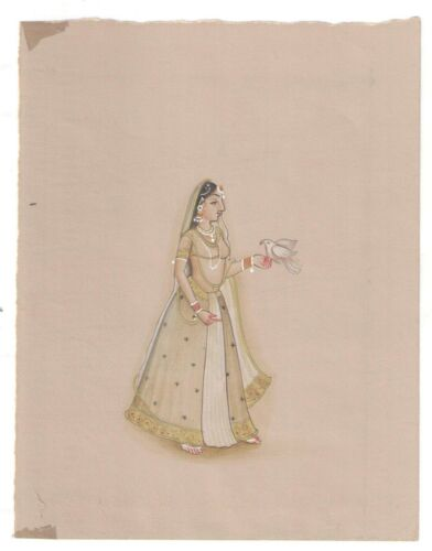 Indian+Art+Miniature+Handmade+Mughal+Queen+Paper+Painting+Old+Paper+Decorative+