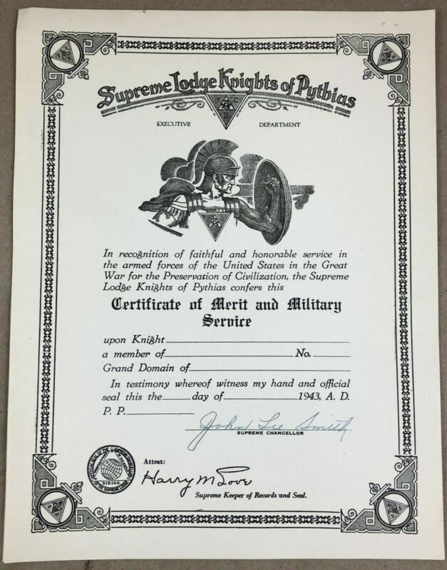 Vintage 1932 Knights of Pythias Supreme Lodge Certificate of Merit Military MINT