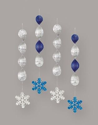 Christmas Xmas Frozen Winter Icy Hanging Ceiling Snowflake Party Decorations 4pk - Christmas Hanging Ceiling Decorations