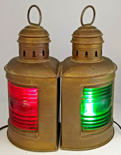 Vintage Pair PERKO PERKINS MARINE LAMP Nautical Ship Lantern Red & Green Lens