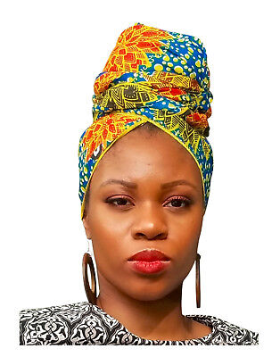 Blue, Gold and Red African Print Head wrap DP3849H