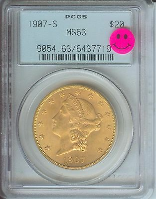1907 S $20 LIBERTY DOUBLE EAGLE PCGS MS63 OLD GREEN HOLDER OGH PREMIUM QUALITY