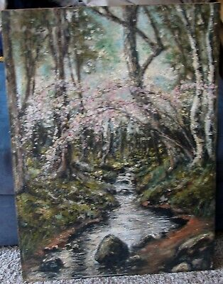 Wash DC Artist-Cherry Blossoms By A Creek-Oil-1920's-Lucien W Powell-Top Quality