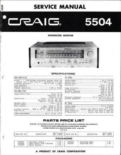 Craig 5504 Integrated Receiver Service Manual - Original, Not Copy
