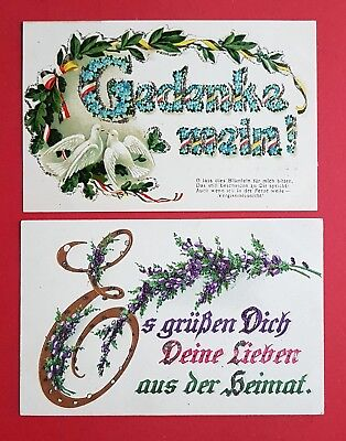 2 x Künstler AK Gedenke mein - Es grüßen Dich mit Glitzersteinen um 1917 ( 34219