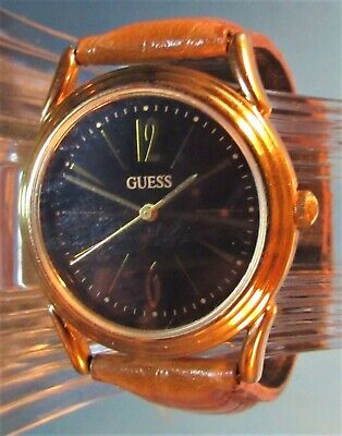 1992 Authentic Classic Guess Unisex Watch. Midnight Black Dial Gold Tone WR