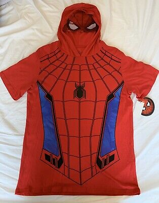 NEW Marvel Spiderman Homecoming Men Graphic T-Shirt with Hoodie Cosplay Costume