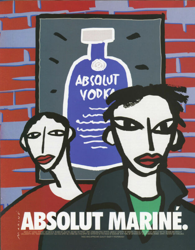 Vintage Absolute Mariné Vodka Print Ad Art in America Magazine Punk Rock 1995
