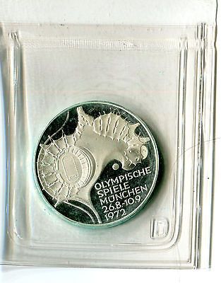 10 DM Deutschland Olympiade in München 1972 D Stadion Silber PP in Folie M_889