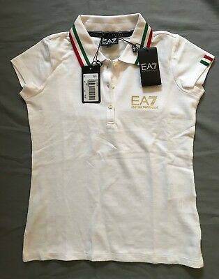 NEW EMPORIO ARMANI EA7 WOMAN COTTON POLO SHIRT WHITE ITALIA SZ 14A Ret $140