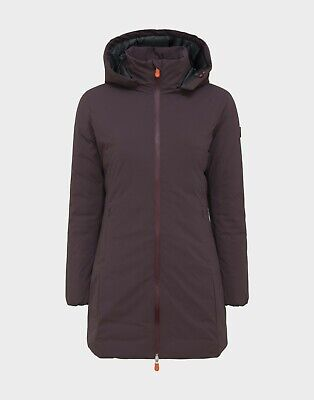 Save the Duck Women MATT HOODED COAT IN BURGUNDY BLACK size 1/s MSRP $298 !!