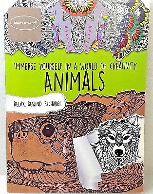 Kathy Ireland Adult Stress Relief Coloring Book, 40 Pg ANIMALS Edition New