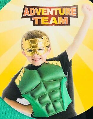Masquerade Costumes Halloween Adventure (Halloween Child Costume Adventure Team Warrior Mask Green Black Cape 3-8)