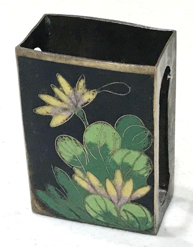 Antique Vintage Enameled Brass Vesta Match Safe Case Holder Old China Object