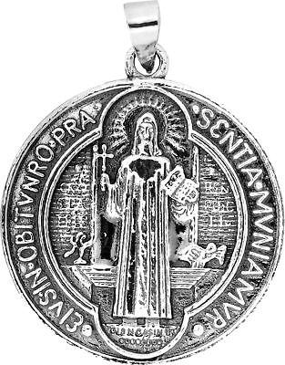Amuleto Medalla Plata San Benito - Reverso Cruz 2.2 cm - Toque...