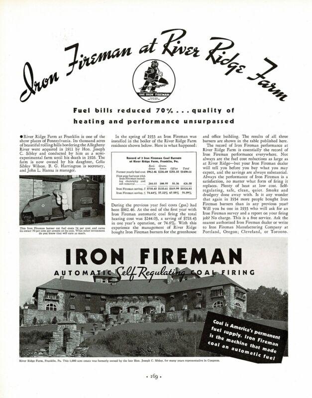 1930s BIG Vintage Iron Fireman River Ridge Farm Franklin PA Photo Print Ad