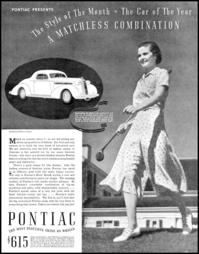 1936 Pontiac automobile car woman golfer fashion vintage photo Print Ad  ADL17