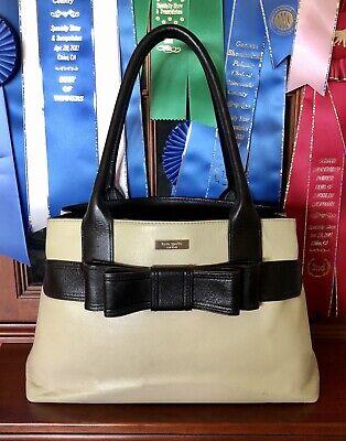 Kate Spade Leather Elena Villabella Avenue doe/black Bow shoulderbag +dustcover