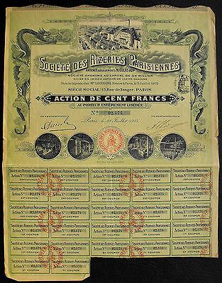 Frankreich Societe des Rizeries Parisiennes Aktie 1915 dekorativ