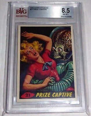 1962 Mars Attacks Topps Prize Captive Card #21 BVG 8.5 Like PSA BGS UFO Alien