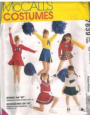 7839 UNCUT McCalls SEWING Pattern Girls Cheerleading Halloween Costume Skirt OOP