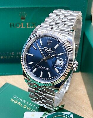 Rolex Datejust 36mm 126234 Blue Baton Dial With Papers 2021 UNWORN