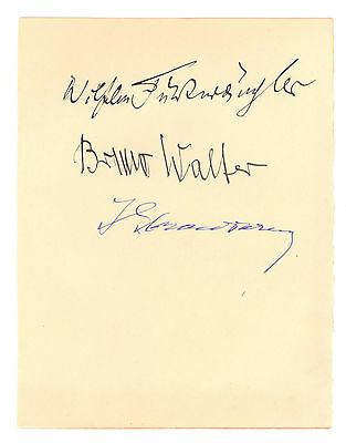 Composers Authentic Autographs Stravinsky, Bruno Walter & Wilhem Furtwangler
