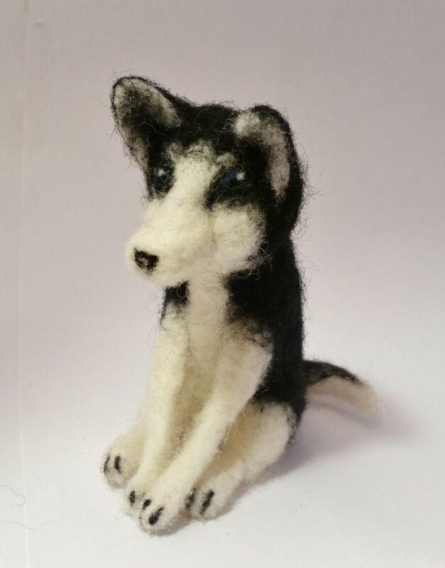 Needle Felted Husky Sculpture