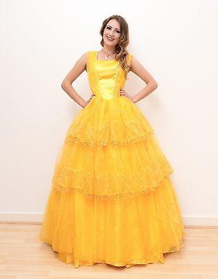 e Damenkostüm Cosplay Prinzessin Kostüm Kleid Abendkleid (Erwachsene Prinzessin Belle Kleid)