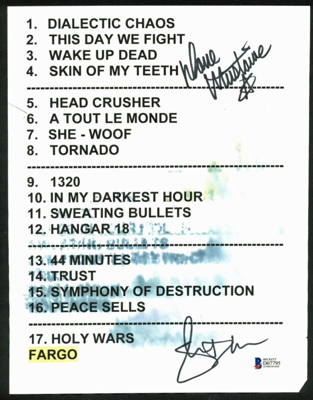 Megadeth Dave Mustaine & Shawn Drover Signed Original Set List BAS #D07795