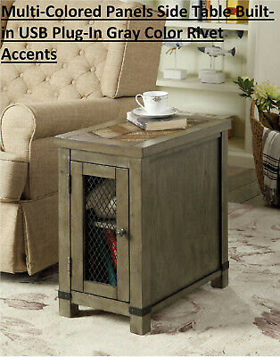 Multi-Colored Panels Side Table Built-in USB Plug-In Gray Color Rivet Accents