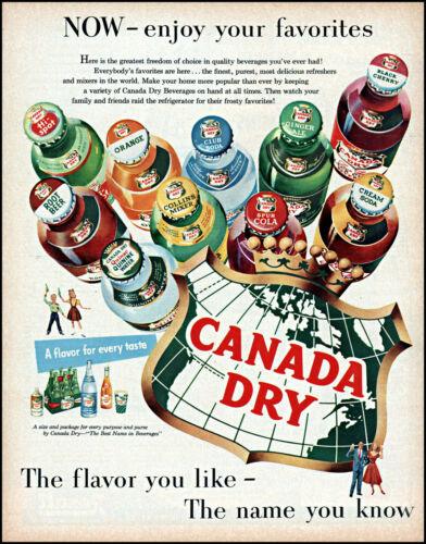 1955 Canada Dry Cola Orange 10 favorite sodas bottles vintage art print ad L16