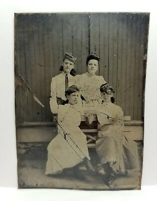 Tintype teenage school girls, students, fashion, hair c.1870s rare outdoor photo