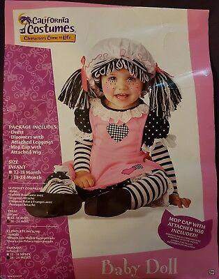 INFANT GIRL BABY DOLL / RAG DOLL HALLOWEEN COSTUME SIZE 18 - 24 MONTHS