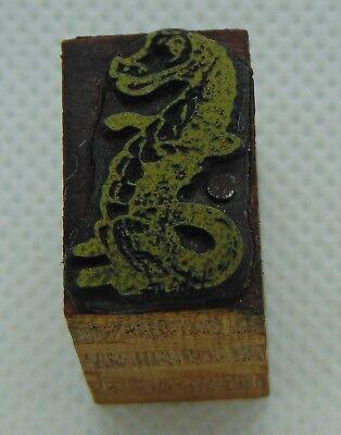 Vintage Printing Letterpress Printers Block Dragon Or Dinosaur