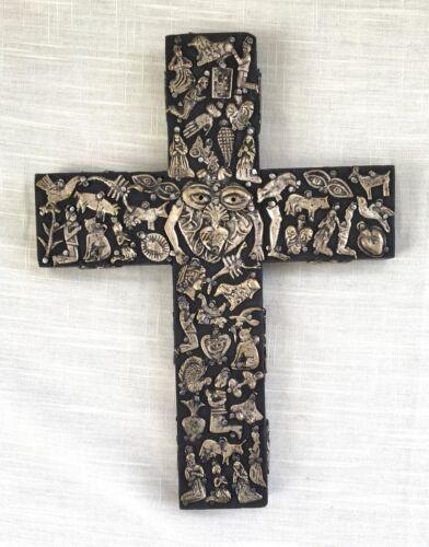 Vintage Estela Ogazon Mexican Folk Art Wood Milagros Cross