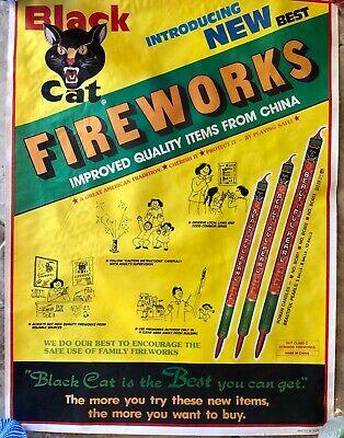 Vintage Black Cat Fireworks Advertising Poster Roman Candles