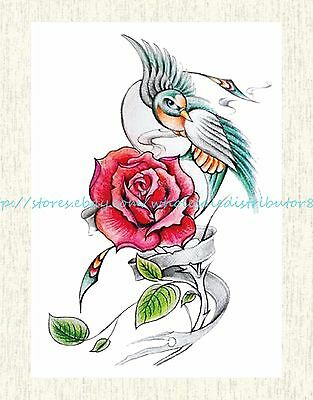 "US SELLER, transfer tattoos for bird rose 8.25""extra large temporary arm tattoo"
