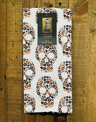 (2) Cynthia Rowley Curious New York Halloween Skull Kitchen Towels Sugar Floral