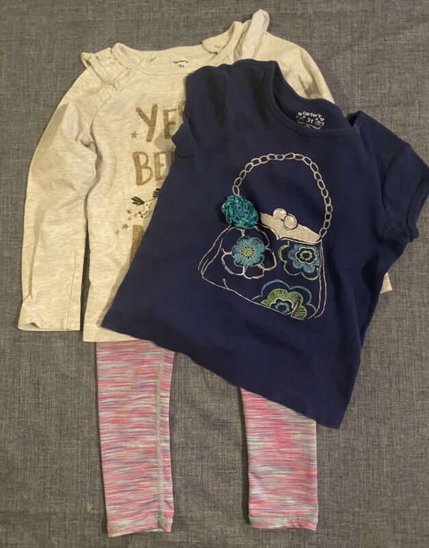 Girls Lot of 3 - T-shirts & Athletic Leggings -Size 3T Active Life, Carter's