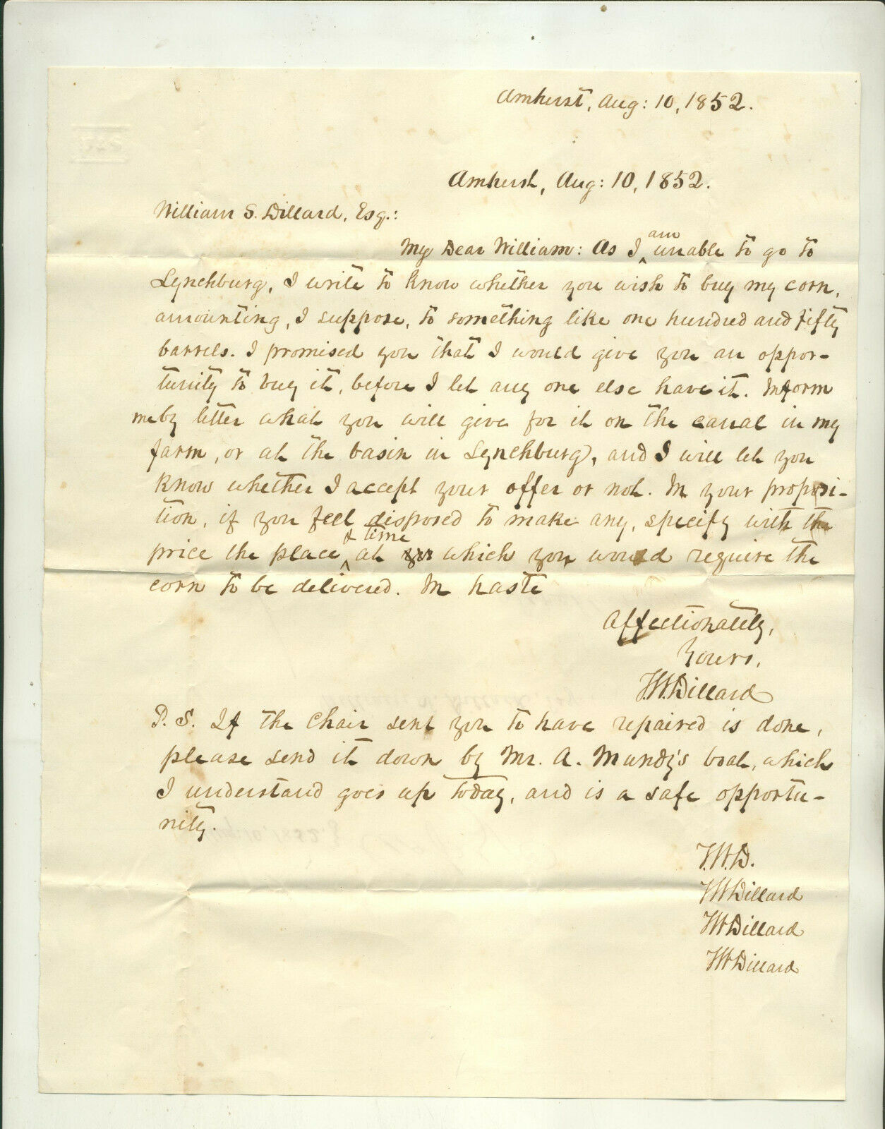 1852 WRITERS COPY LETTER TERISHA DILLARD AMHERST VA TO WILLIAM DILLARD LYNCHBURG - $4.99