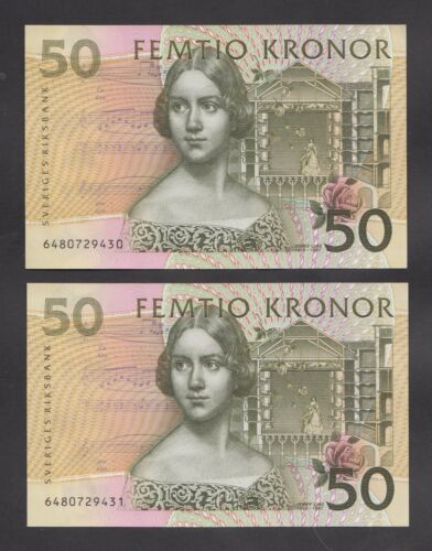 SWEDEN 50 Kronor 1996  UNC  P62a  Two banknotes with consecutive serial numbers