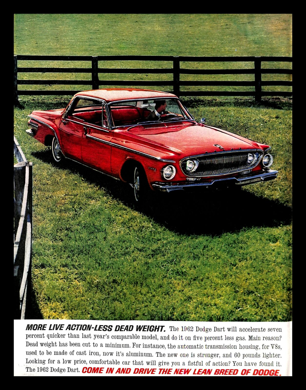 1962 Dodge Dart Classic Red Car Vintage Print Ad Countryside Fencing Field 1960s Ebay