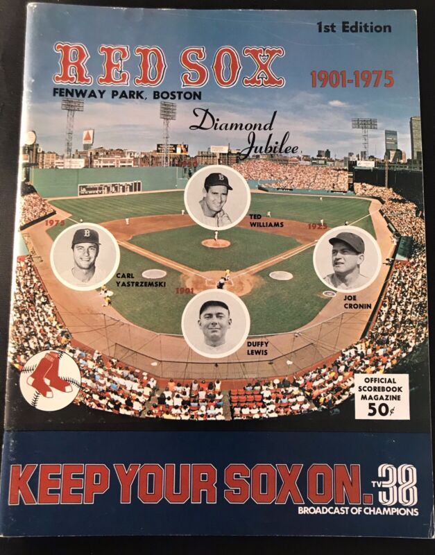 1975 RED SOX OPENING DAY Program Hank AARON A.L DEBUT/Conigliaro Return/Yount HR