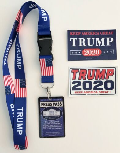 President Trump ...White House Press Pass with Lanyard + 2 Decals