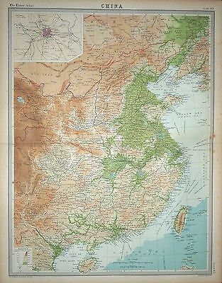 1920 LARGE MAP ~ CHINA ~ INSET PEKING ~ 23