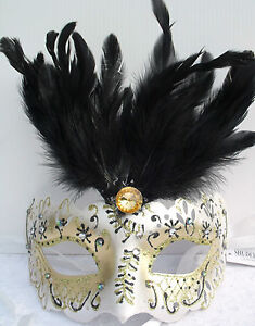 Masquerade Glitter Feather RIALTO FACE MASK Masked Ball Fancy Dress Mardis Gras