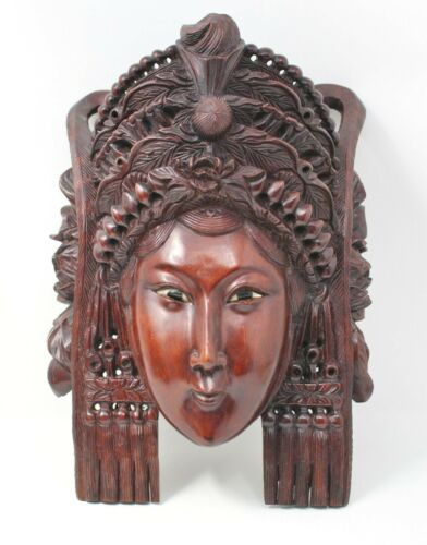 "Antique Chinese Empress Rosewood Heavily Carved MASK Inlaid Eyes 12"" Woman Queen"
