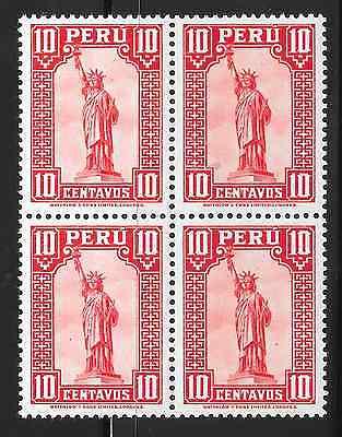 Peru   Mnh   1934   Sc  318   Block Of 4   Statue Of Liberty