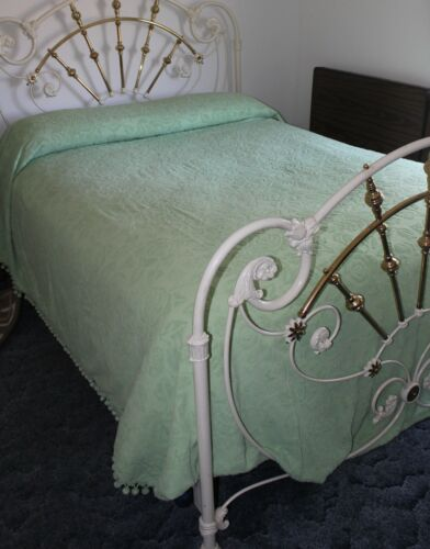 "Rare Vintage  King Size Vintage Chenille Fringed Green Bedspread  116"" x 125"""